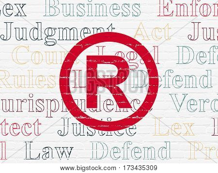 Law concept: Painted red Registered icon on White Brick wall background with  Tag Cloud
