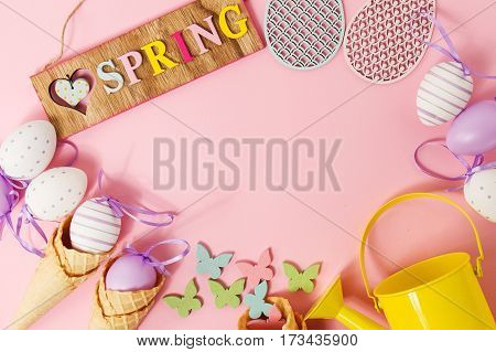 Easter Spring Concept. Flat Lay or Top View of Easter Eggs and Ice Cream Cones.