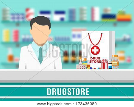 Modern interior pharmacy or drugstore. Medicine products on shelves. Male pharmacist. Shopping bag with different medical pills and bottles, healthcare and shopping. Vector illustration in flat style