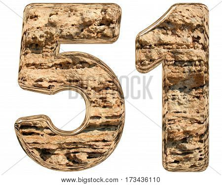 Numeral 51, Fifty One, Isolated On White, Natural Limestone, 3D Illustration