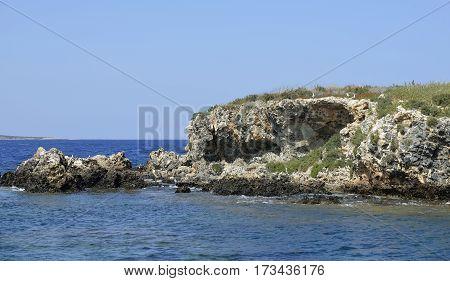Jagged Volcanic Rock Island