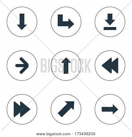 Set Of 9 Simple Indicator Icons. Can Be Found Such Elements As Advanced, Upward Direction, Downwards Pointing And Other.