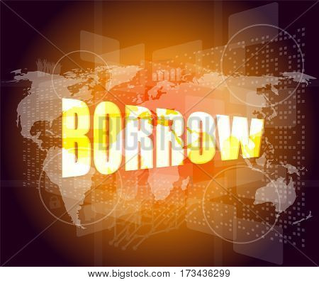 borrow word on business digital touch screen