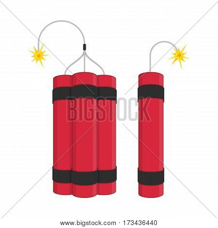 Dynamite bomb set. Explosives with burning wick detonate isolated on white background. Stick of dynamite icon. Vector illustration EPS 10.