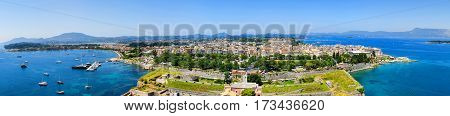 Panoramic view of Kerkyra capital of Corfu island