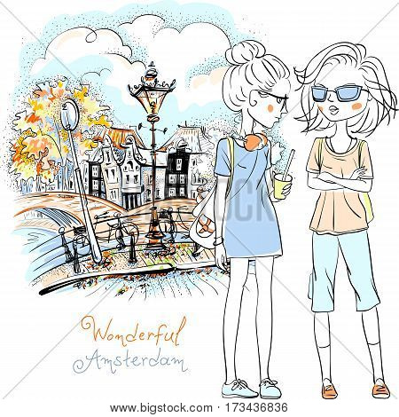 Hand drawn picture, cute beautiful girls tourist walking down canal in Amsterdam with traditional Dutch house, Holland, Netherlands.