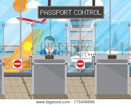 Border control counter concept, immigration officer, camera, passport control sign. Airport terminal, control tower, aircraft, cityscape. Vector illustration in flat style