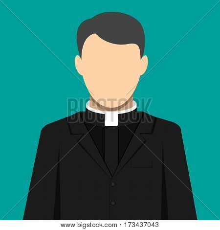 Catholic priest person. Pastor servant of god in cassock. Vector illustration in flat style