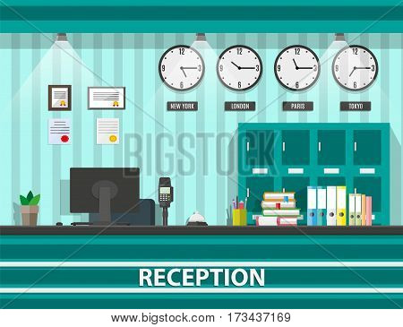 Interior of modern reception, computer, keypad, safety boxes, clocks, document paper, pen, service bell. Hotel hostel guesthouse lobby, tourism concept. Vector illustration in flat design