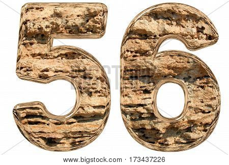 Numeral 56, Fifty Six, Isolated On White, Natural Limestone, 3D Illustration