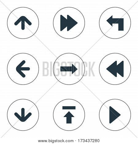 Set Of 9 Simple Arrows Icons. Can Be Found Such Elements As Downwards Pointing, Transfer, Upward Direction And Other.