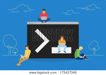 Young programmers coding a new project sitting near console on symbol of command line. Flat modern illustration of young programmer coding a new project using computer