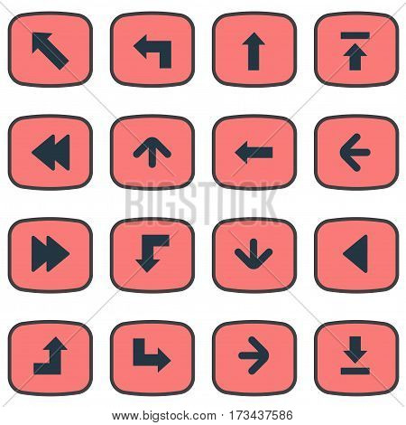 Set Of 16 Simple Arrows Icons. Can Be Found Such Elements As Reduction, Left Direction, Let Down And Other.