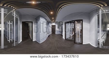 3d illustration hall interior design in classic style. Render is made, seamless 360 degree spherical panorama
