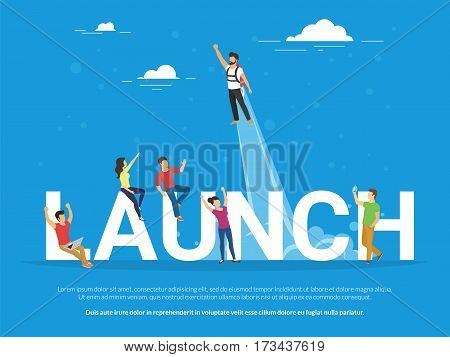 Startup launch illustration of business people working together as team and celebrating success of the startup. Flat people looking at the colleague who got an idea and rises into the sky as a rocket.