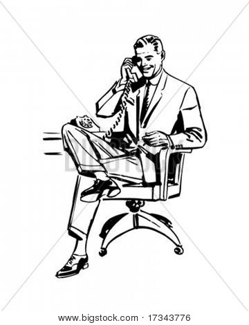 Man In Office Chair - Retro Clip Art