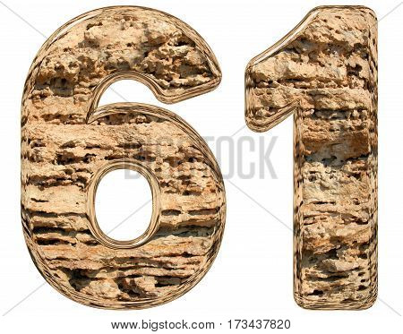 Numeral 61, Sixty One, Isolated On White, Natural Limestone, 3D Illustration