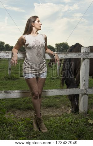 Beautiful young girl with a horse Selective focus and small depth of field lens flare
