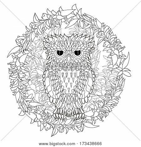 Black white tracery doodle of the owl for art therapy. Sketch for tattoo, poster, print, t-shirt in zentangle style. Adult antistress coloring page. Vector illustration