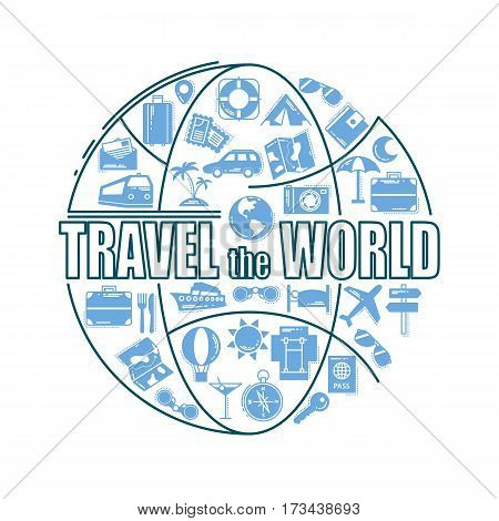Travel line icons in globe shape. Travel the world - vector illustration concept for cover card, brochure or magazine, invitation background. Tourism business element