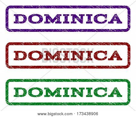 Dominica watermark stamp. Text tag inside rounded rectangle with grunge design style. Vector variants are indigo blue red green ink colors. Rubber seal stamp with dust texture.
