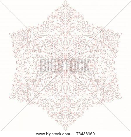 Oriental vector pink pattern with arabesques and floral elements. Traditional classic ornament. Vintage pattern with arabesques