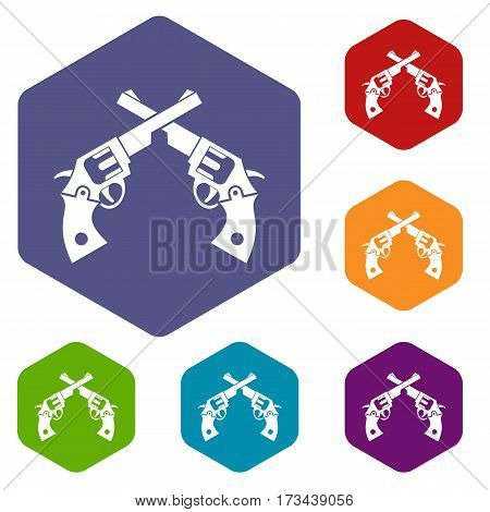 Revolvers icons set rhombus in different colors isolated on white background