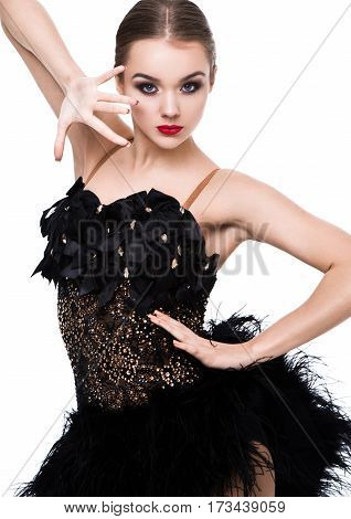 Beautiful ballroom dancer girl in elegant pose black dress on white background