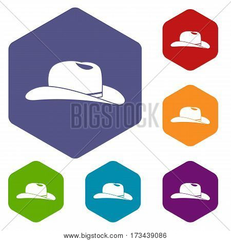 Cowboy hat icons set rhombus in different colors isolated on white background