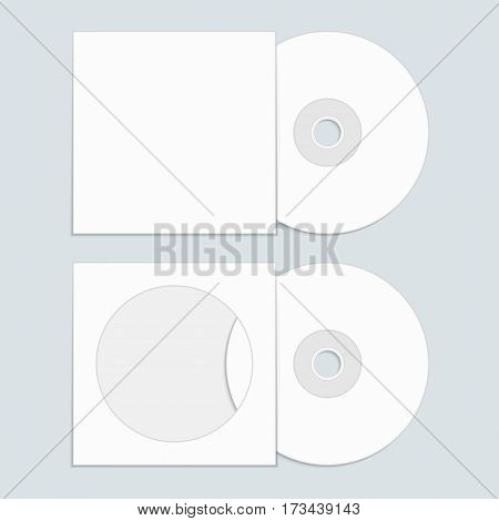White compact disk with cover mock up template. Blank DVD and CD and envelope in realistic style. Vector illustration EPS 10.