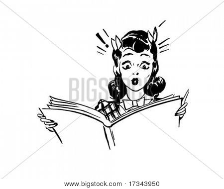 Surprised Woman Reading - Retro Clip Art