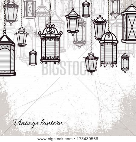 Vector vintage lantern set background Classic antique light backdroop. Ancient retro lamp design. Traditional silhouette. Old graphic object design. Elegant collection
