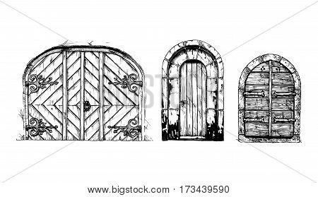 Vector illustration set of hand drawn middle age vintage doors. Black and white isolated on white.