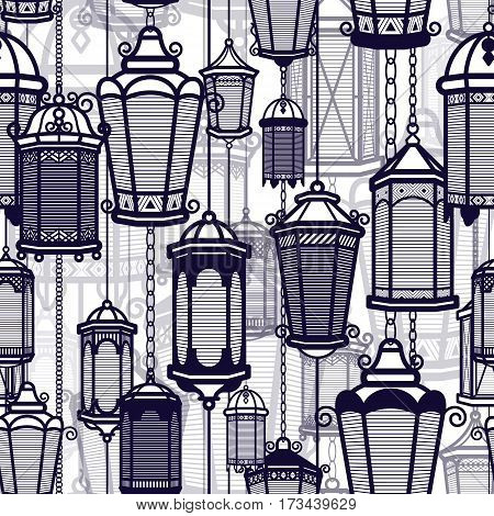 Vector vintage lantern seamless pattern. Classic antique light. Ancient retro lamp design. Traditional silhouette. Old graphic object design. Elegant collection