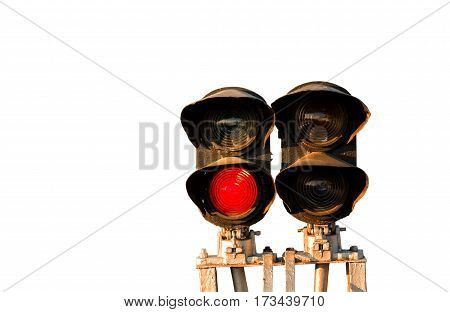 Traffic light shows red signal on railway isolated on white background