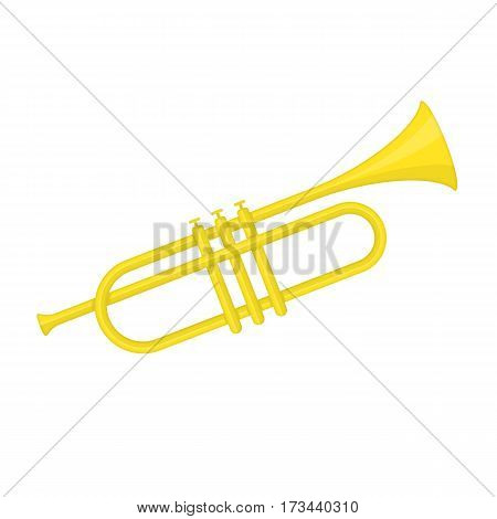 Brass trumpet icon. Philharmonic orchestra device isolated on white background. Wind musical instrument concept. Vector illustration EPS 10.