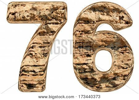 Numeral 76, Seventy Six, Isolated On White, Natural Limestone, 3D Illustration
