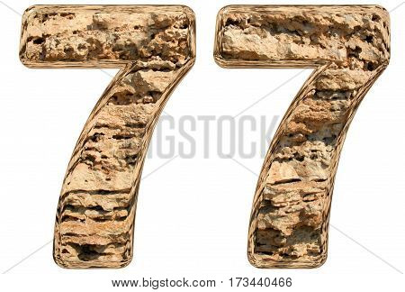 Numeral 77, Seventy Seven, Isolated On White, Natural Limestone, 3D Illustration