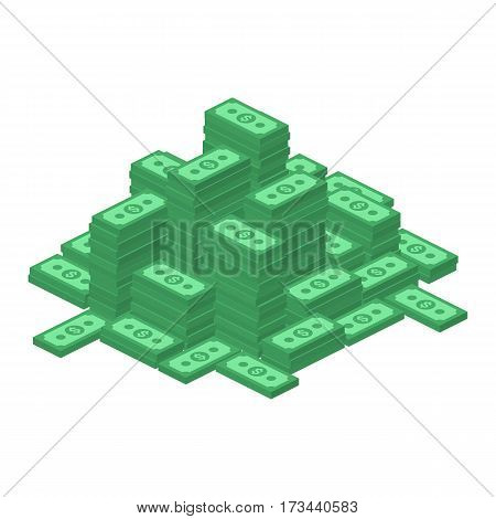 Big stacked dollar pile. Hundreds of dollars in flat style isometric illustration. Money cash, Business and finance concept. Vector EPS 10.