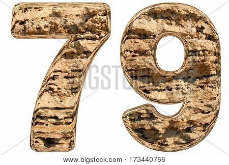 Numeral 79, Seventy Nine, Isolated On White, Natural Limestone, 3D Illustration