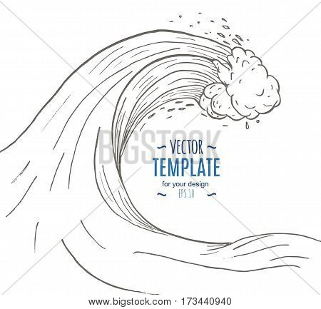 Great wave in a vintage retro hand drawn style. Vector illustration
