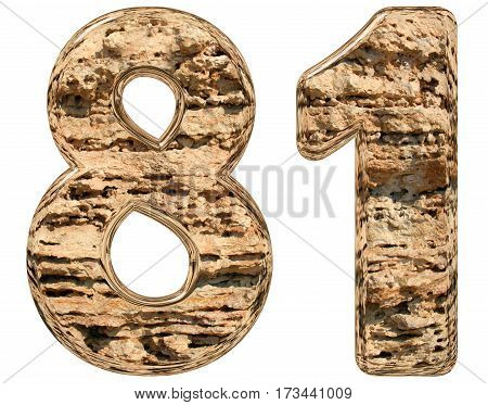Numeral 81, Eighty One, Isolated On White, Natural Limestone, 3D Illustration