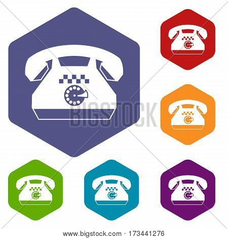 Taxi phone icons set rhombus in different colors isolated on white background