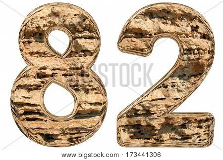 Numeral 82, Eighty Two, Isolated On White, Natural Limestone, 3D Illustration