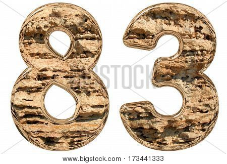 Numeral 83, Eighty Three, Isolated On White, Natural Limestone, 3D Illustration