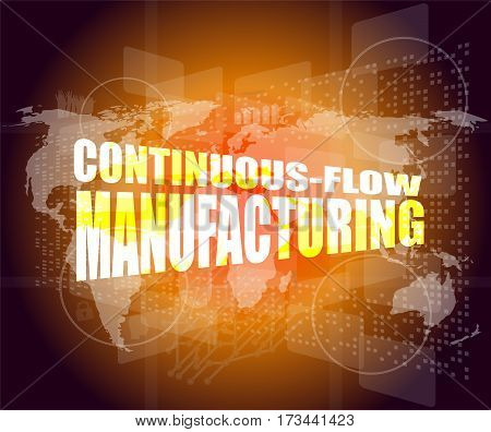 Management Concept: Continuous Flow Manufacturing Words On Digital Screen