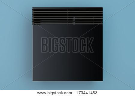 Convection heater on the blue wall front view 3D rendering
