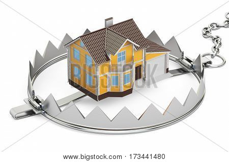 House In Bear Trap 3D rendering isolated on white background