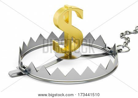 money trap with dollar 3D rendering isolated on white background
