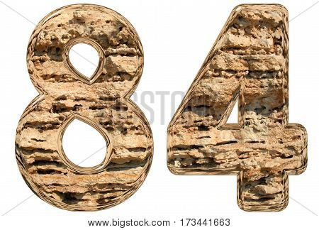 Numeral 84, Eighty Four, Isolated On White, Natural Limestone, 3D Illustration